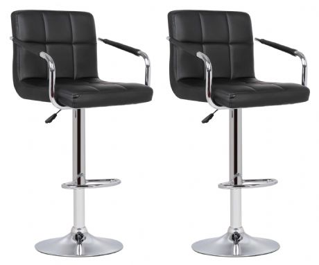 Pair of 2 Milan Black Faux Leather Padded Seat Bar Stools With Arms